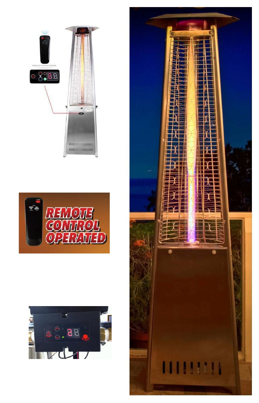 TRIANGLE GLASS TUBE PATIO HEATER WITH REMOTE CONTROL